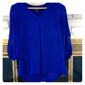 Brixton Ivy cobalt blue laser cut blouse size S
